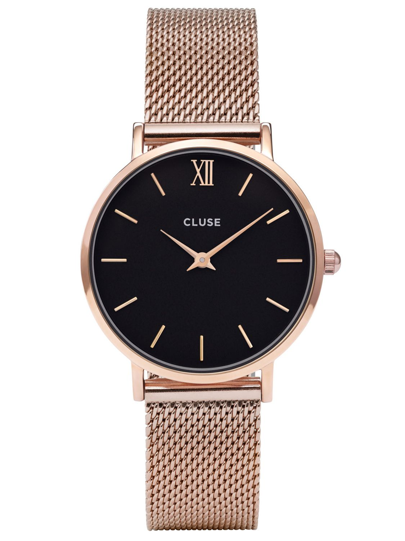 Damenuhren schwarz rosegold  CLUSE Minuit Mesh Rose Gold/Black Damenuhr CL30016