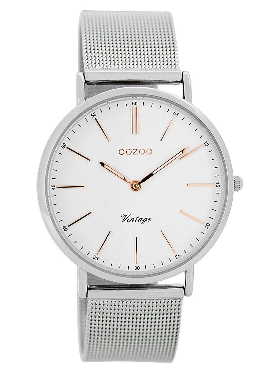 oozoo vintage damen armbanduhr wei silber 36 mm c7396. Black Bedroom Furniture Sets. Home Design Ideas