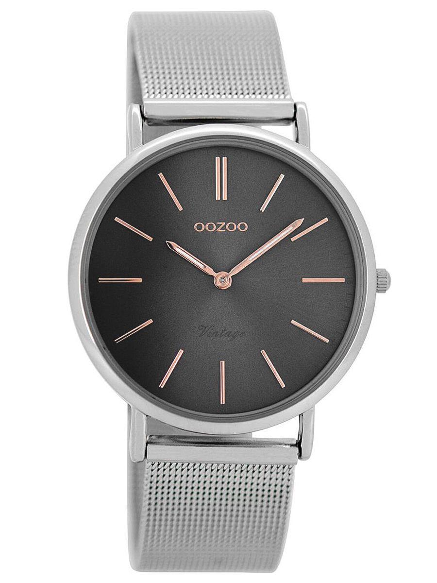 oozoo vintage damen armbanduhr silber grau 36 mm c8145. Black Bedroom Furniture Sets. Home Design Ideas
