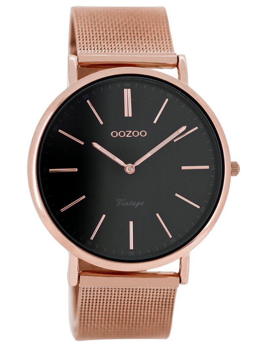 oozoo vintage armbanduhr unisex ros gold schwarz 40 mm c8161. Black Bedroom Furniture Sets. Home Design Ideas