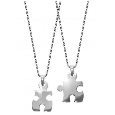 trendor 63775 Puzzle Partner-Anhänger 2 Halsketten Silber 4260227763775