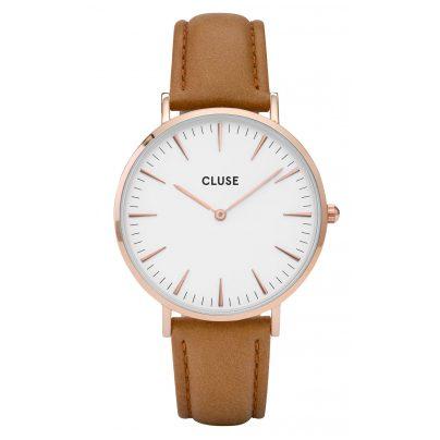 Cluse CL18011 La Bohème Rose Gold White/Caramel Uhr 8718924590294