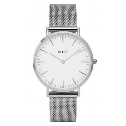 Cluse CL18105 La Bohème Mesh Silver/White Armbanduhr 8718924590942