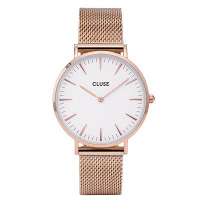 Cluse CL18112 La Bohème Mesh Rose Gold/White Armbanduhr 8718924593899