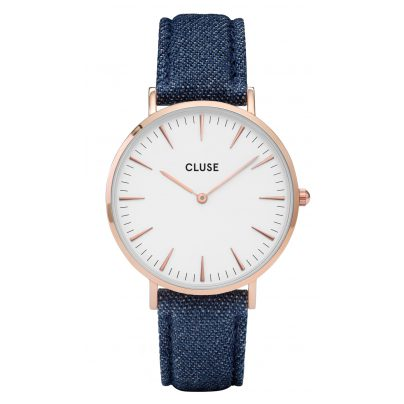 Cluse CL18025 La Bohème Rose Gold White/Blue Denim Uhr 8718924592878